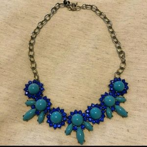 J. Crew statement necklace blue and turquoise